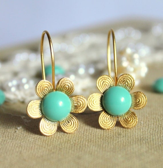 Tiffanys blue gold flower earrings - 14k gold plated earrings with real Turquoise swarovski pearls .