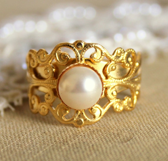 Lacy gold and white pearl ring -adjustable ring plated 14k gold