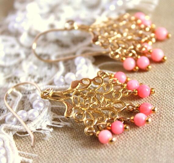 Coral earrings - 14k Gold fild earrings  wirh real pink coral gemstone