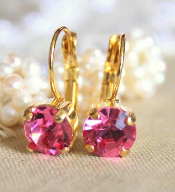 Pink and gold earrings - 14k gold plated earrings with real  faceted  swarovski rhinestone