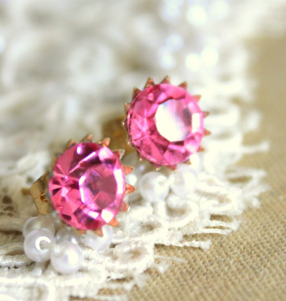 Silver Post earrings Pink shiny swarovski real 972 silver coated 18k gold