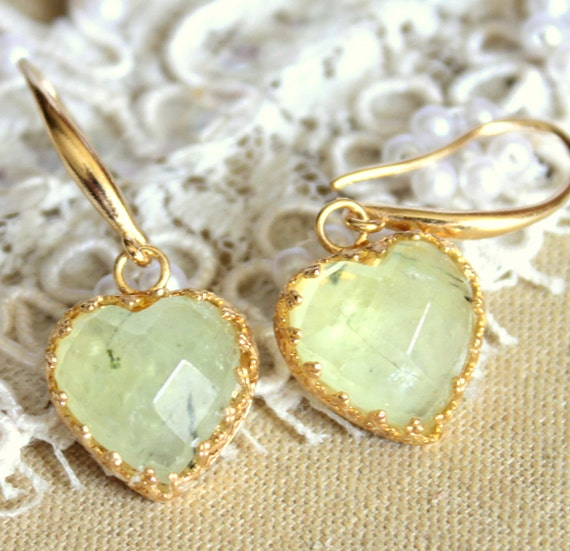 Unique hearts earrings 14k gold field -  High quality Real Prehnite gem stone heart shaped .