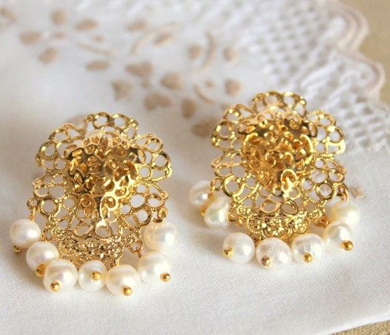 Gold and pearls lacy chandelier earrings - 14k coated goldearrings wirh real frashwater pearls .