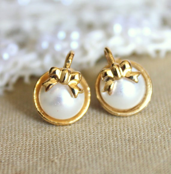 Gold post earrings  - 16K Gold Plated, real swarovski pearls  with.925 Sterling Silver Post.