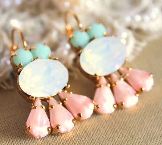 Crystal aqua mint opal pink earring - 14k plated gold  earrings real swarovski opal and mint aqua  pink rhinestones .