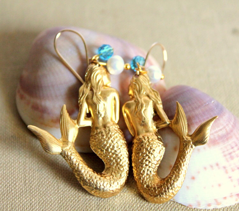 Vintage Style Earrings: Vintage Style Mermaid Earrings Gold Field Hooks & Real By