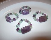 Handpicked Napkin Rings Cape Amethyst Rectangle w/Purple and Green Rainbow Beads-(Set of 4) BH0060
