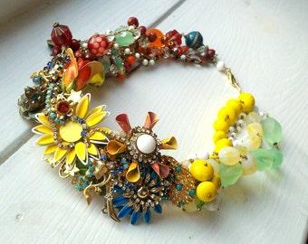 Custom Statement Bib Necklace, Chunky Statement Necklace, Bridal Boho Necklace, Wedding Bib Necklace, Vintage Flower Statement Jewelry