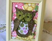Tweed Owl on Spring Floral framed collage art