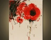 reserve for chan Red flower -original acrylic painting by OAK
