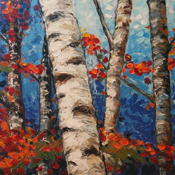Items similar to original birch tree painting contemporary for Peinture mural original