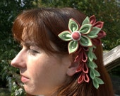 Green and Mauve Flower. 2 Dangle. Faux Pearls. Comb Back.