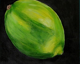 Original Painting Lime Fruit on 6 X 6 Masonite Board