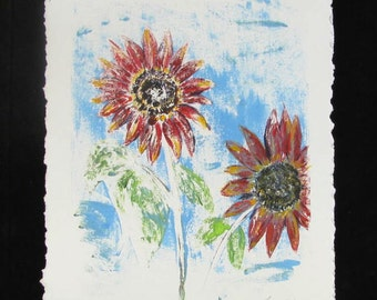 Original Sunflower Mixed Media Painting