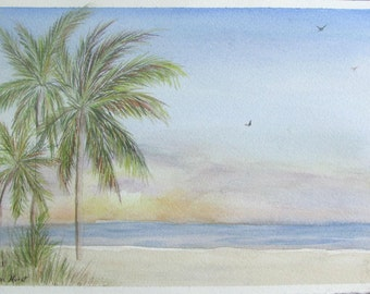 Original Watercolor Painting Coastal Sunrise Beach Scene