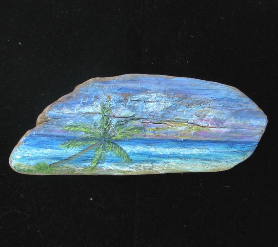 Driftwood Painting Serene Tropical Beach