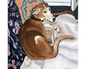 Greyhound lurcher oil painting photographic 5x7 print