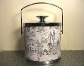 lovely toile ice bucket, black and white
