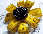 Unique OOAK Tape Measure Flower Brooch With Black Rose Button Center, brooch, gift, tape measure, centimeter, yellow, rose, black, unique