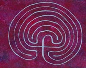 Labyrinth Painting: Purple Background 5 x 7 inches