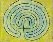 Labyrinth Painting: Golden Field 5 x 7 inches
