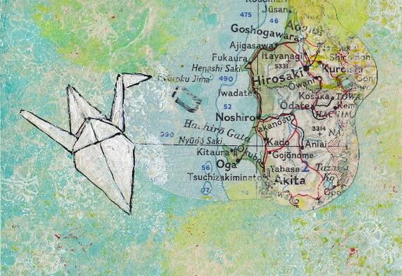 Origami Paper Crane Painting: Paper Crane Over Hirosaki-ACEO Original Art