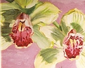 Small original oil painting -  Cymbidium Twins, 5 X 5 inch gallery wrapped canvas