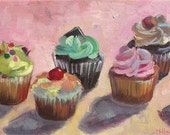 Baby Cupcakes print of original oil painting 6 X 12 inches