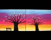 SALE -Original Colorful Sunset Tree Branches Bird  Diptych Painting Modern Abstract Art 40x16 - LOVE BIRDS