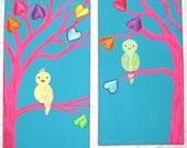 2 Lil lOvE biRdS - (2)  7 x 14 ADORABLE Original Canvas Birds on a Branch Paintings Children's Nursery Wall Art
