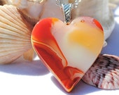 Fused Glass Heart Pendant Flowing Patterns Art Glass Orange Yellow Red Love Emotion Fall Autumn (Item 10026-P)