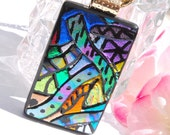 Dazzle Doodles Zentangle Fused Glass Jewelry Hand Etched Glass Pendant Multicolored Mod Abstract (Item 10387-P)