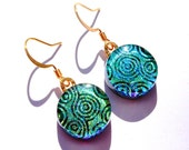 Fused Glass Jewelry, Round Dichroic Earrings, Fused Dichroic, Circles Swirls, Mod Green and Gold, Spring (Item 30177-E)