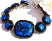 Butterfly Bracelet, Dichroic Glass Bracelet, Fused Glass Jewelry, Fashion Accessory, Gift for Her, Cobalt Blue Black (Item 20066-LB)