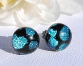 Small Glass Stud Earrings, Fused Glass Jewelry, Dichroic Glass Earrings, Post Earrings, Mini Round, Black, Silver Blue (Item 30210-E)