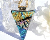 Fused Glass Jewelry Dichroic Pendant Dramatic Effects Jeweled EarthTones (Item 10005-P)