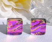 Neon Brite - Dichroic Studs, Glass Studs, Square, Dichroic Glass Earrings, Fused Glass Jewelry, Small, Neon Bright Pink (Item 30236-E)