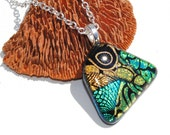 Contemporary Free Form Dichroic Fused Glass Pendant, Mod, Retro, Abstract (Item 10179-P)