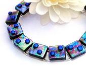 Metallic Bracelet, Fused Glass Jewelry, Dichroic Glass, Tie-Dye, Multicolor, Satin Shimmer (Item 20020-B)