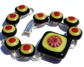 Millefiori Bracelet, Dichroic Fused Glass Jewelry, Dichroic Bracelet, Orange, Black, Red, Floral (Item 20002-LB)