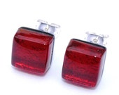 Small Glass Stud Earrings, Fused Glass Jewelry, Dichroic Glass Earrings, Post Earrings, Square, Deep Ruby Red, Blood Red (Item 30279-E)
