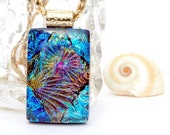 Blue Glass Pendant, Fused Glass Jewelry, Glass Jewelry, Fused Dichroic Glass Pendant, Blue, Colorful, Bright -- Fireworks (Item 10363-P)