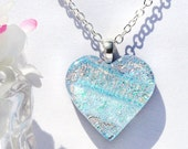 Heart, Dichroic Glass Pendant, Fused Glass Jewelry, Petite, Pastels, Spring, Love (Item 10207-P)