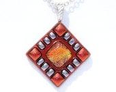 Dichroic Glass Pendant, Orange, Silver, Fused Glass Pendant, Fused Dichroic, Bright, Spicy Hot, Summer, Tribal (Item 10089-P)