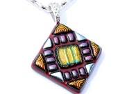 Mosaic, Dichroic Glass Pendant, Fused Glass Jewelry, Tribal, Aztec, Deep Red, Orange, Silver (Item 10236-P)