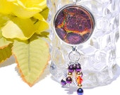 RESERVED LISTING - Dichroic Glass Pendant, Swarovski Beads, Leaf, Nature, Fused Glass Jewelry Necklace, Boho, Purple, Orange (Item 10432-P)