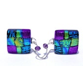 Dichroic Earrings, Fused Glass Jewelry, Square, Sterling Silver Hooks, Blue, Purple, Gold, Green (Item 30312-E)