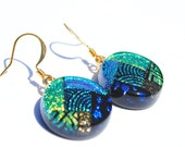 Dichroic Glass Earrings, Fused Glass Jewelry, Round, Retro, Abstract, Contemporary, Modern, Green, Gold (Item 30322-E)