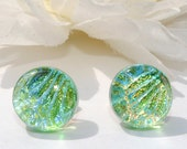 "Small Dichroic Stud Earrings, Fused Glass Jewelry, Post Earrings, Round, Circle, Pastel, Fresh Mint, Light Green, 7/16"" 11mm (Item 30358-E)"