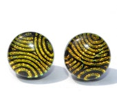 """Dichroic Button Stud Earrings, Fused Glass Jewelry, Posts, Round, Circle, Mod Retro Swirls, Gold and Black, 1/2"""" 12mm (Item 30359-E)"""